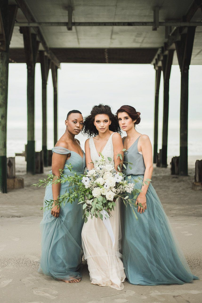 Dusty Blue Beachside Elopement Inspiration Teal Bridesmaid