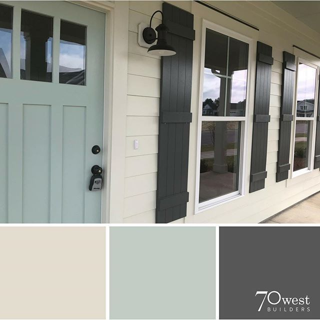 exterior paint colors- SW Oyster White, Peppercorn, and Copen Blue