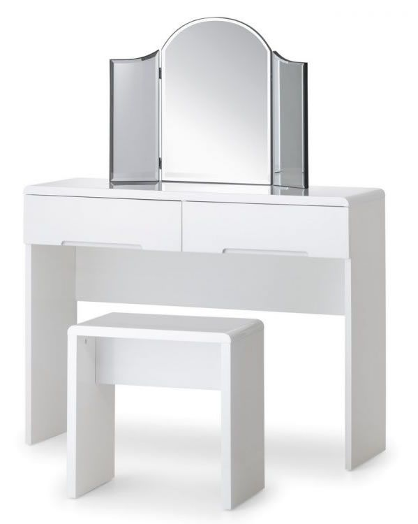 Grant White High Gloss Dressing Table With 2 Drawers Fully Embled Option