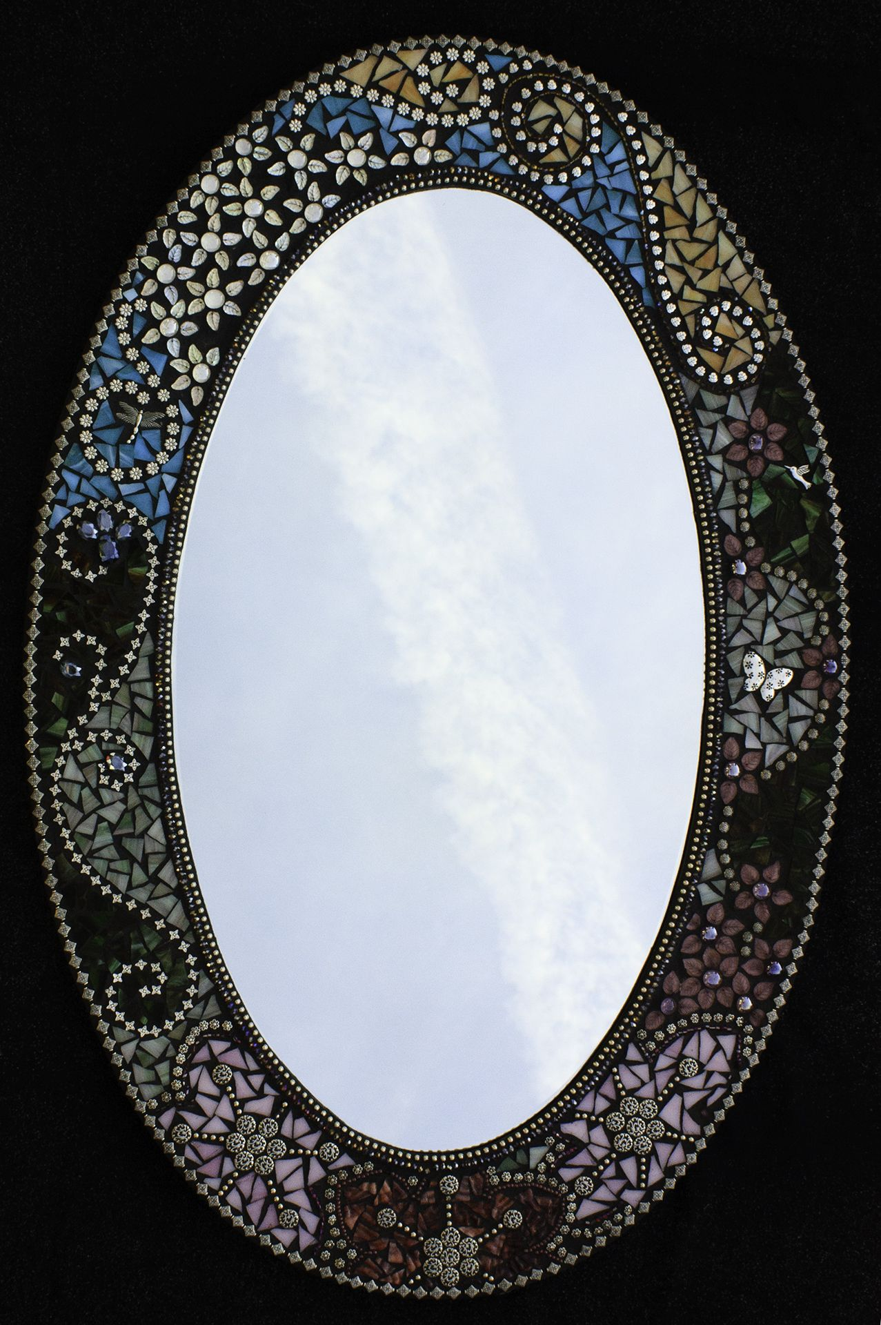 Large Mosaic Oval Mirror With Beautiful Flowers Mosaic