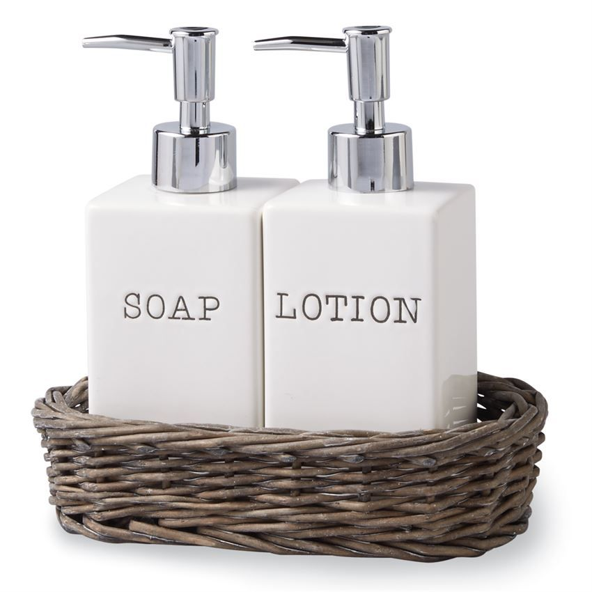 3 Piece Set Ceramic Soap And Lotion Dispensers Arrive In Gray Wash Willow Caddy Lotion And Soap Dispensers Soap Lotion Dispenser