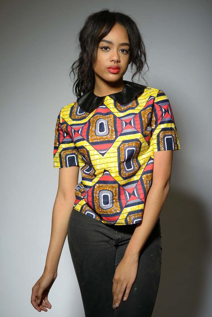 Mina African Print Leather Collar Top (Pink/Yellow/Navy)