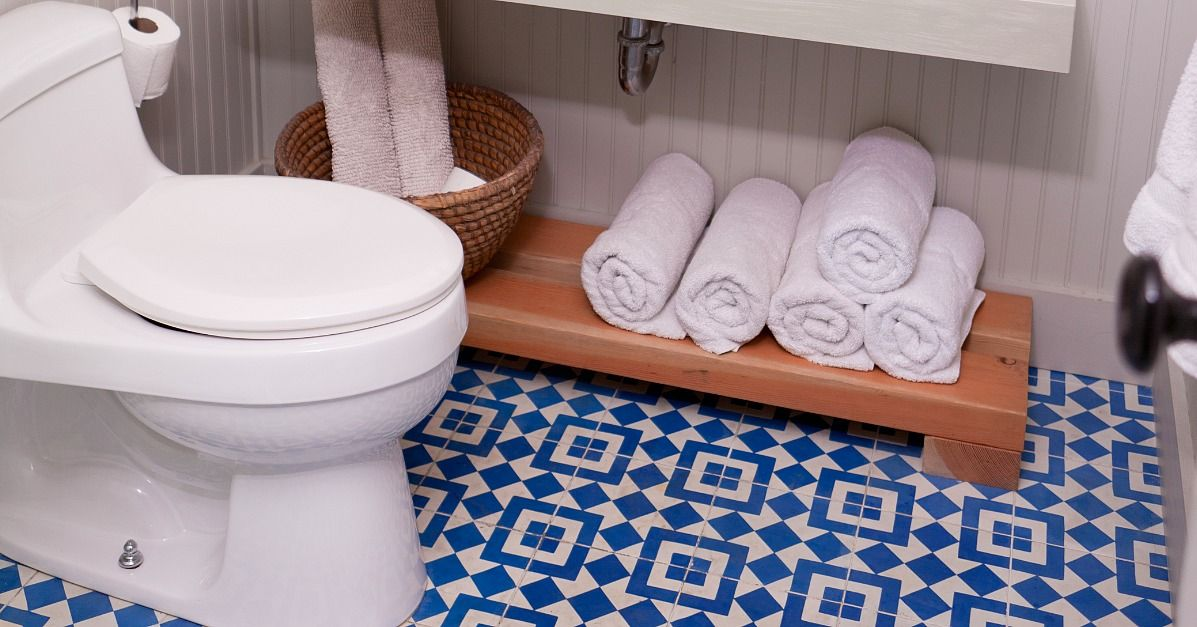 Granada Tile Fez Cement Tiles In Close Up A Simple White Bathroom