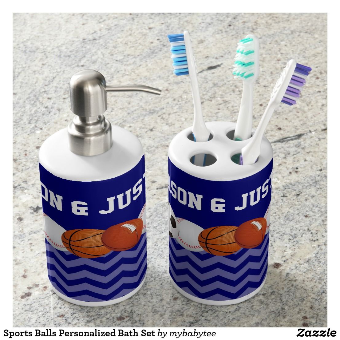 Sports Balls Personalized Bath Set | Bath Accessory Sets | Pinterest ...