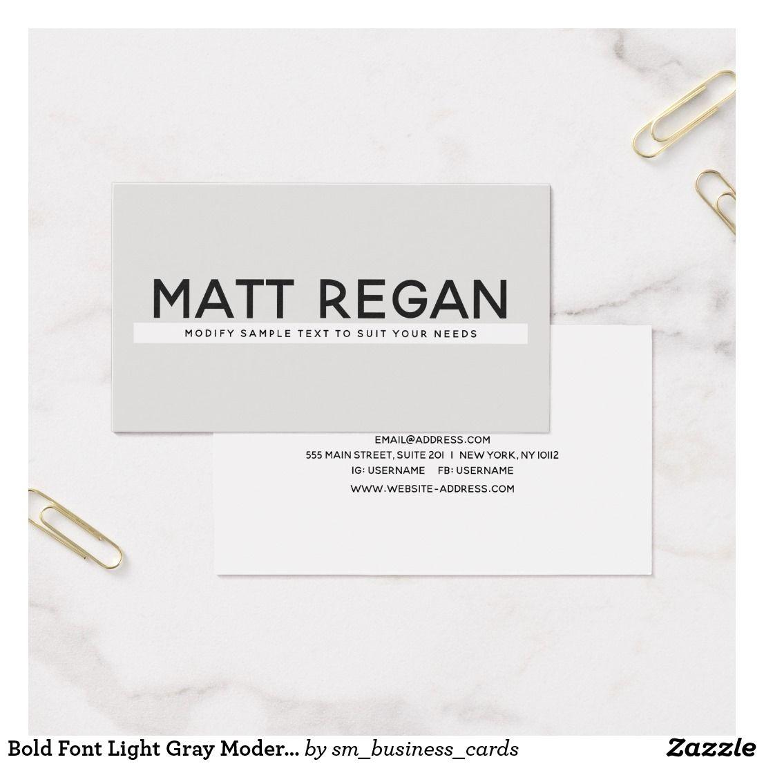 Bold Font Light Gray Modern Professional Business Card | Pinterest ...