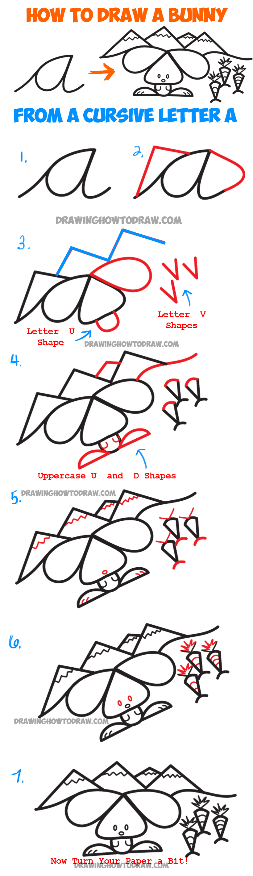 Learn How To Draw A Cartoon Bunny Rabbit Scene From Lowercase Cursive  Letter A Shape : · Basic Drawingstep
