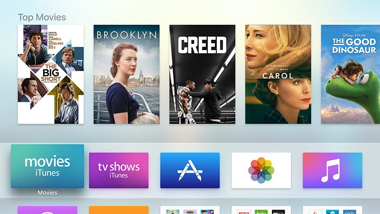 Apple TV home screen showing Top Movies and App Icon Grid