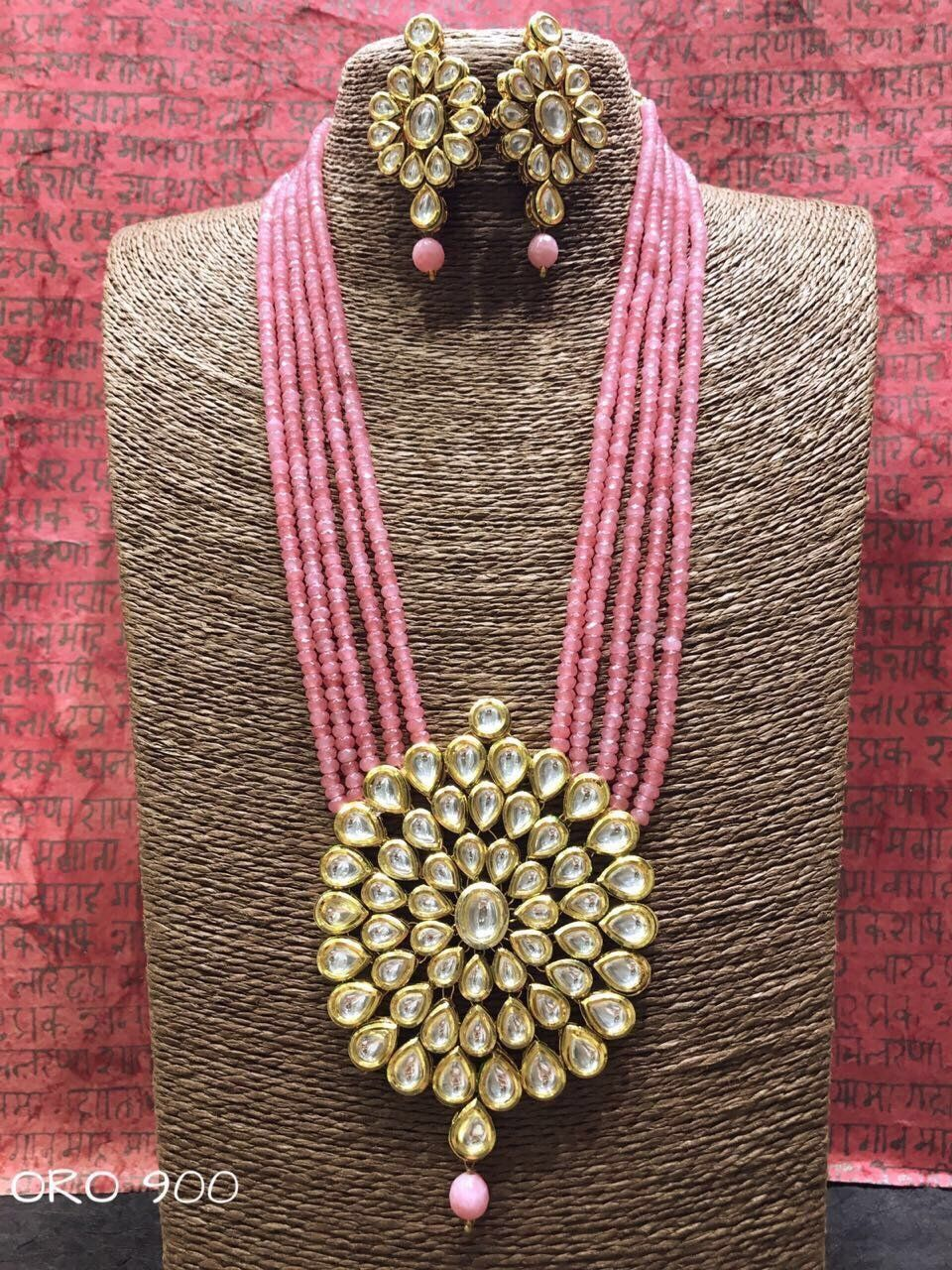 Kundan and bead set anticgoldjewellery goldjewellerykundan