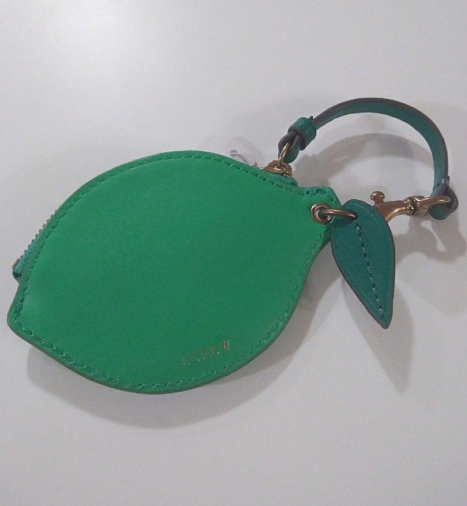 9218d1da5562 J.Crew Leather Lime Coin Purse Zipper Pouch With Strap Neon Emerald J0319  NWT