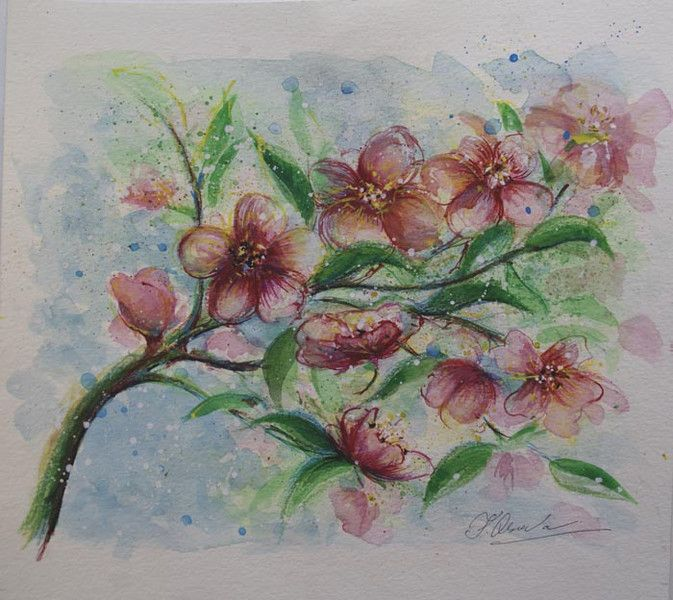 Watercolour paintings – Apple blossom painting ORIGINAL watercolor artwork – a unique product by Radikacolours on DaWanda