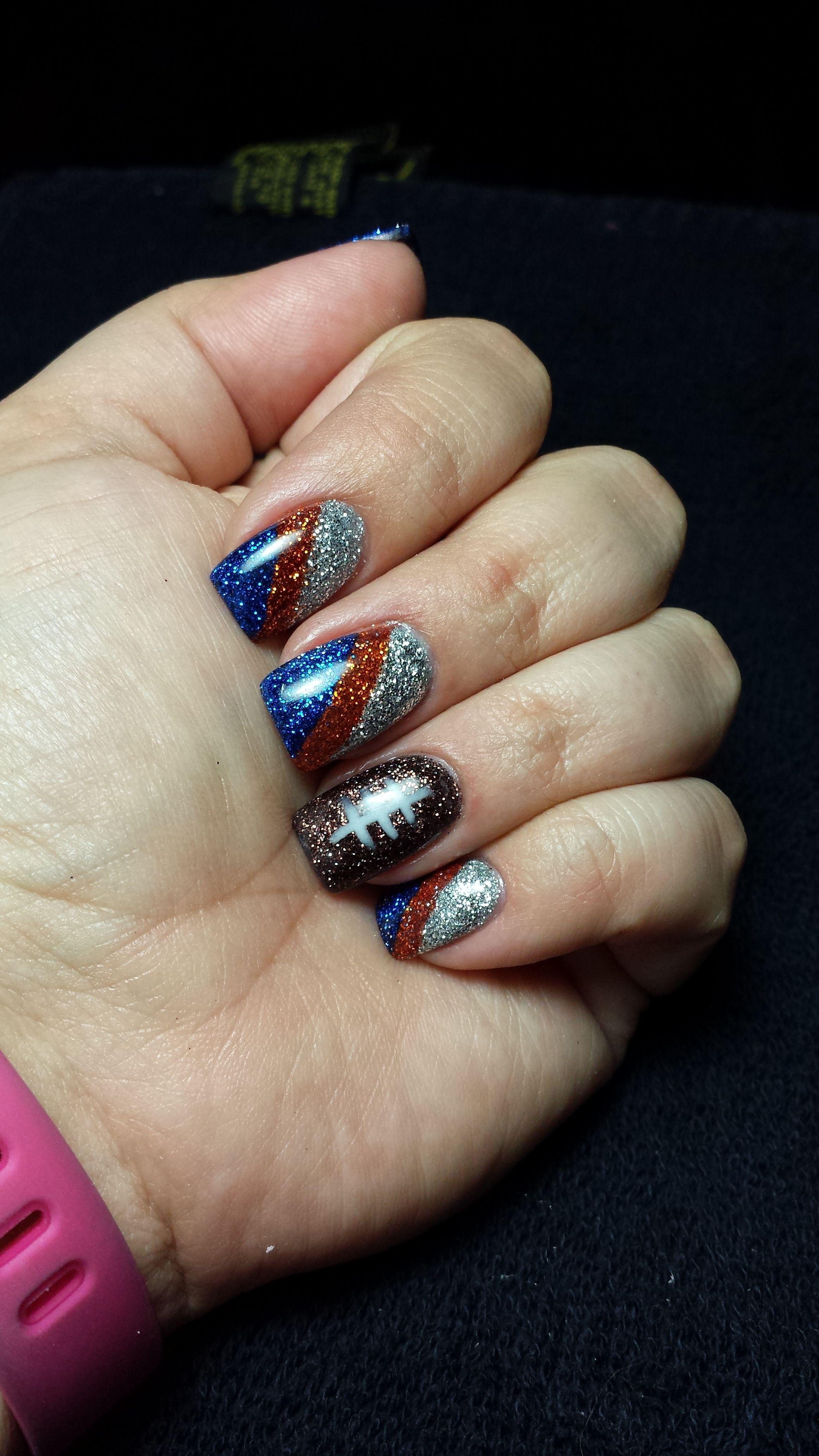 Bronco Nails | My Nail Designs | Pinterest | Broncos nails, Nail ...