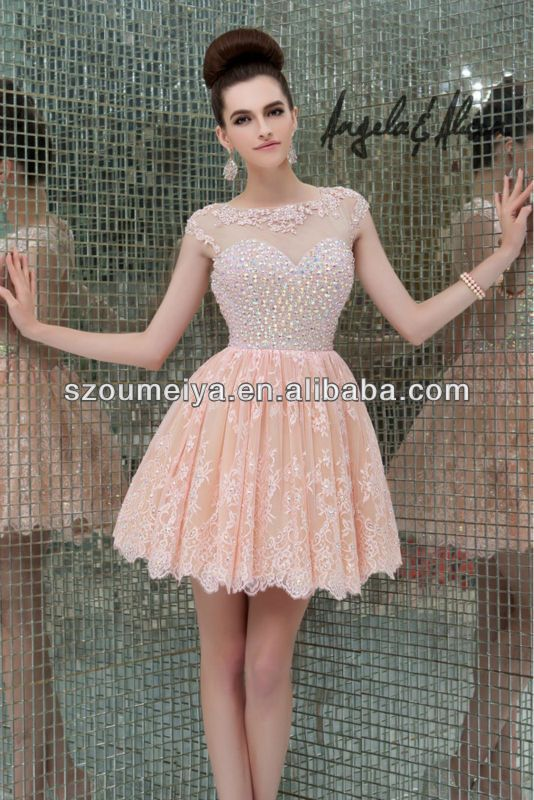Lace Prom Dresses 2014 , #short puffy prom dresses, #pink prom dress ...