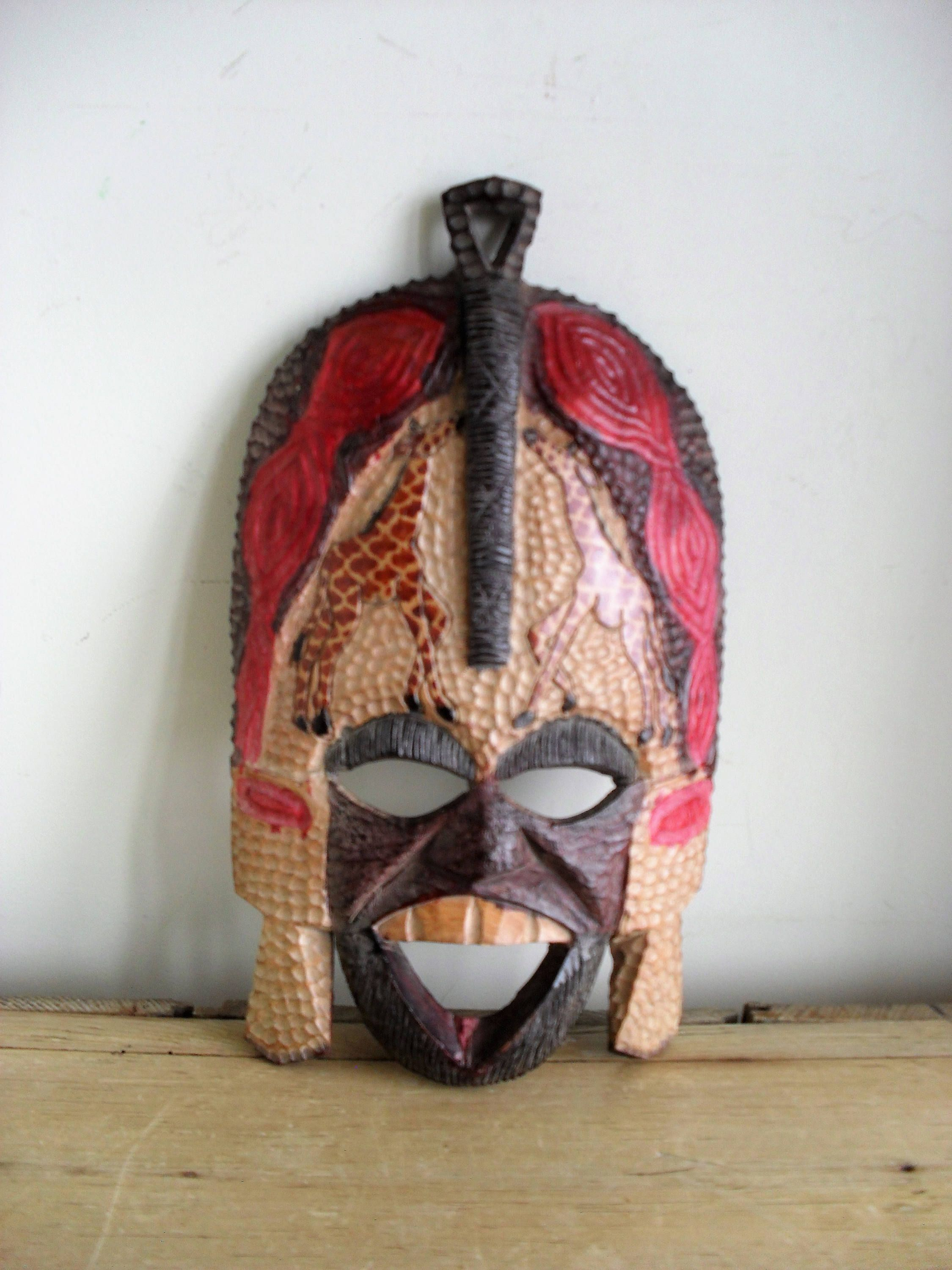 African Mask Decor African Mask Painted Wooden Mask Tribal Decor Hand Carved Giraffe