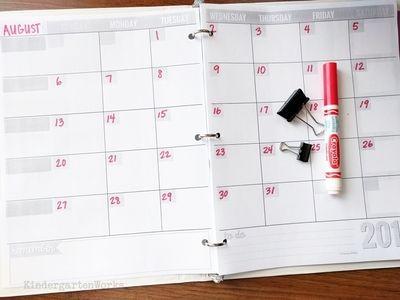 Teacher Planning Calendar Blank Template Classroom Pinterest