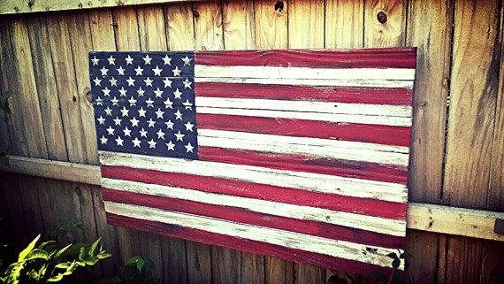 American Flag Wood Rustic Wooden Barn Gift