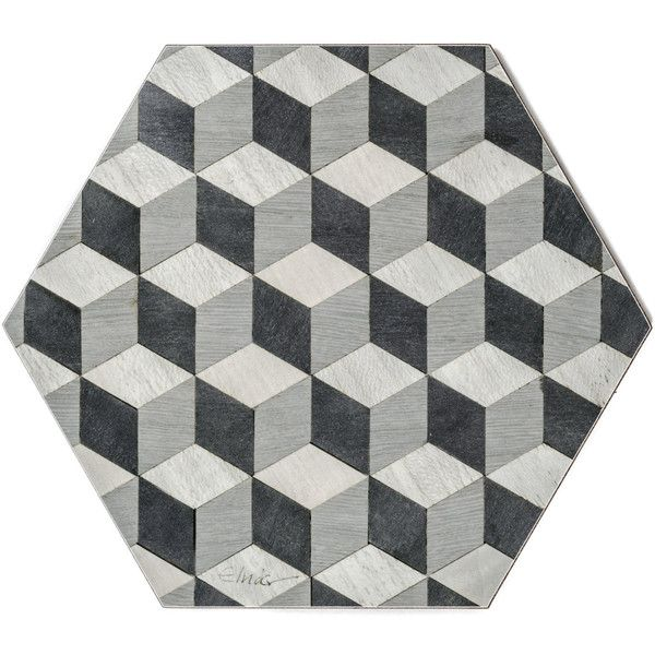 4 Yellow Placemats Grey Hexagon Placemat Art Deco Tablemats Vintage 37 Via Polyvore Featuring Home Ki Grey Placemats Yellow Placemats Coloring Placemats