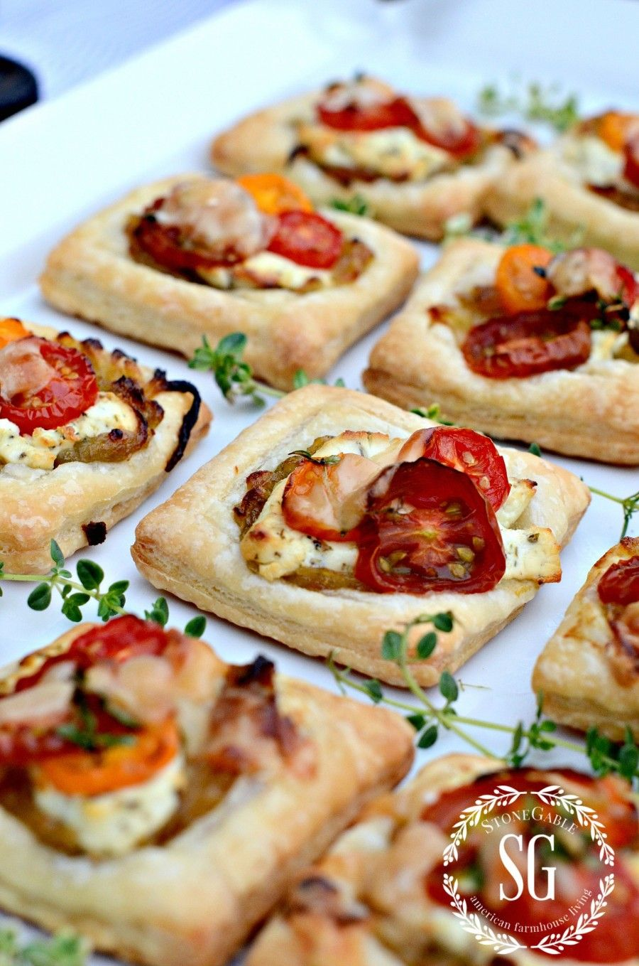10 TIPS FOR THROWING A SUMMER PARTY THE EASY WAY- Goat Cheese And Caramelized Onion Tartlets-stonegableblog.com