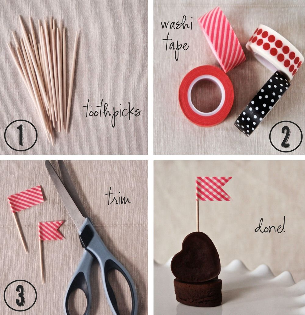 DIY Cake Flag Made From Toothpicks And Washi Tape