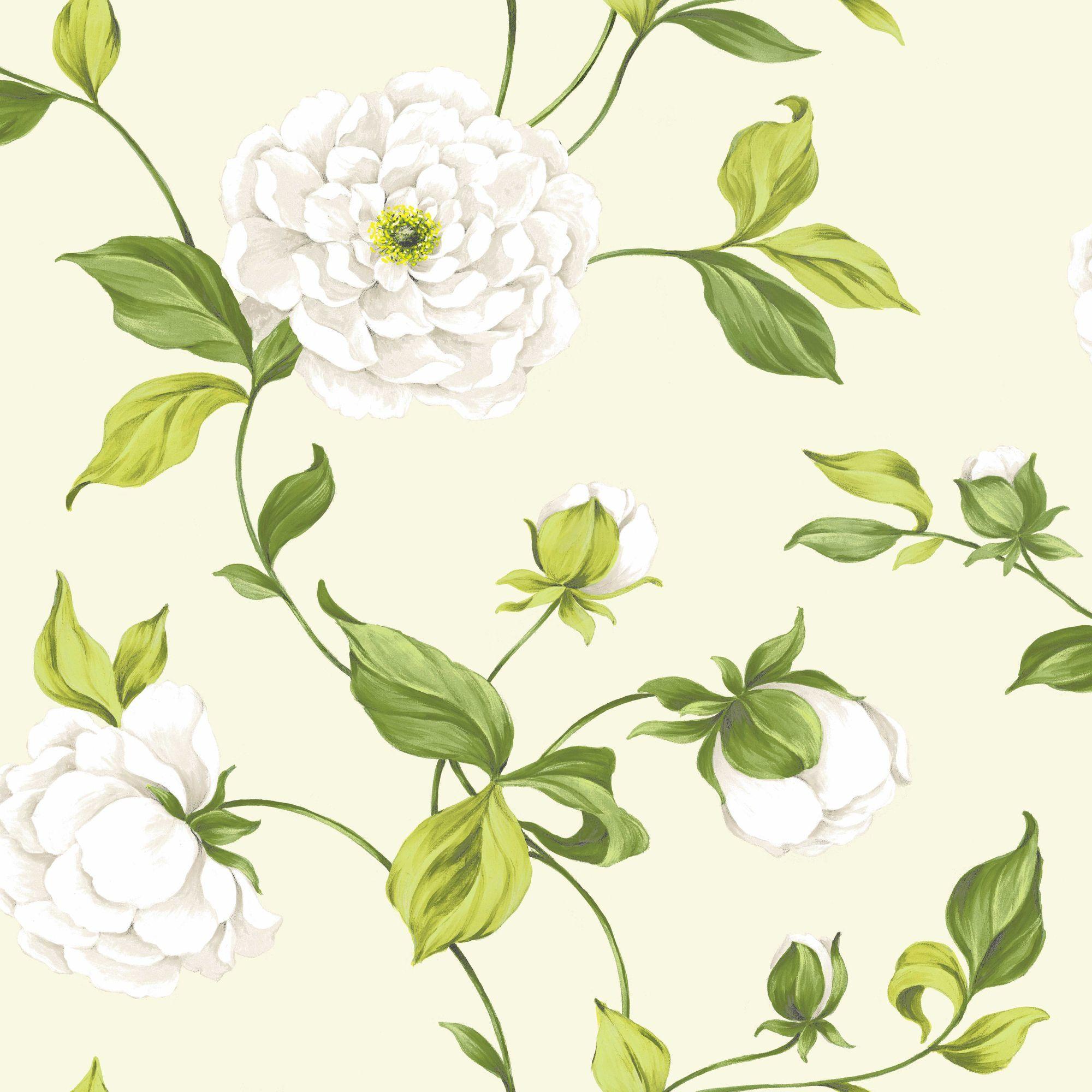 Colours Paste The Wall Camelia Cream & Green Wallpaper