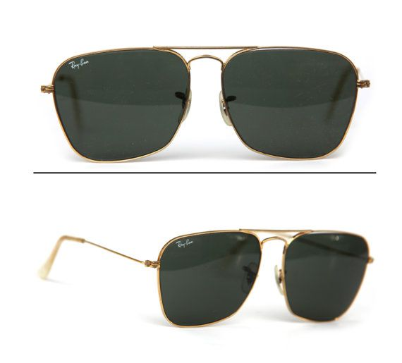 8c3f12384a 60 s Vintage b l RAY BAN USA 24k Gold Filled Caravan Pilot Aviator Sunglasses  RayBan Sunglasses Gold Dark Green Glass Lenses 58mm