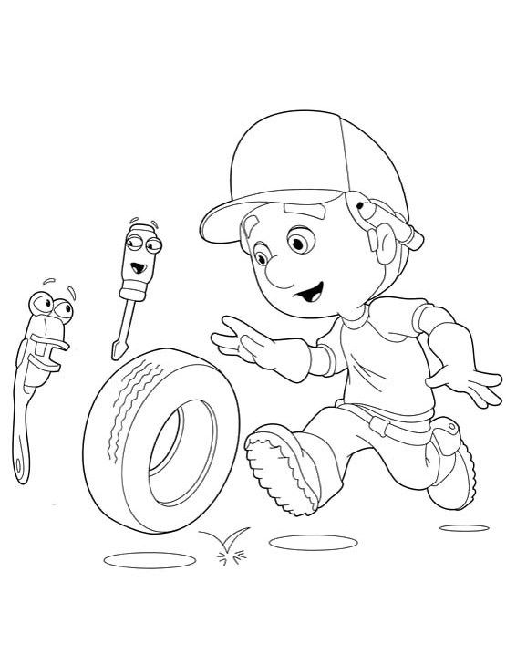 Handy Manny With Felipe And Rusty Coloring For Kids