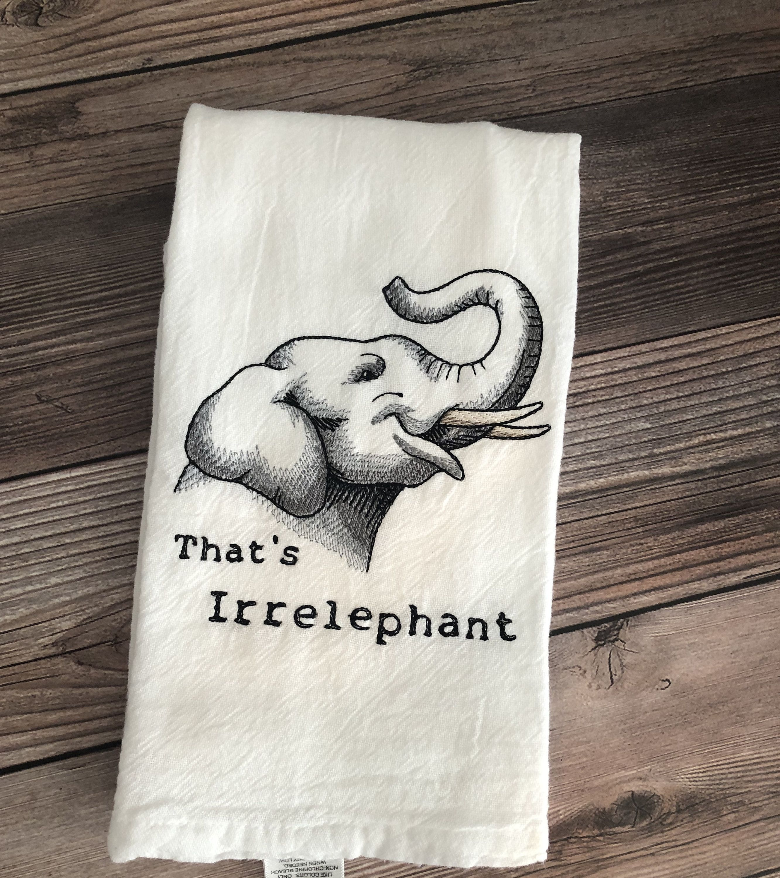 Wild Creatures Elephant 1 Embroidered Personalised Towels and Tea Towels
