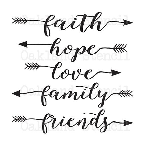 Pochoir Inspiration  Faith Hope Love Famille Amis    X   W