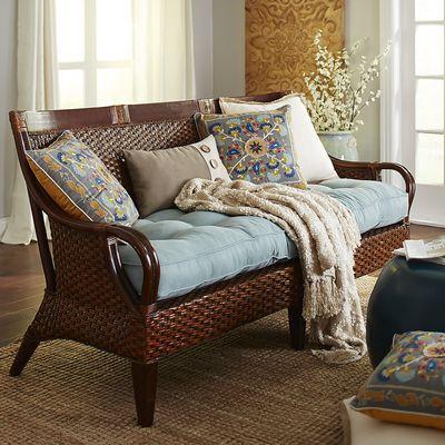 Temani Brown Wicker Sofa Sunroom Sofa Living Room