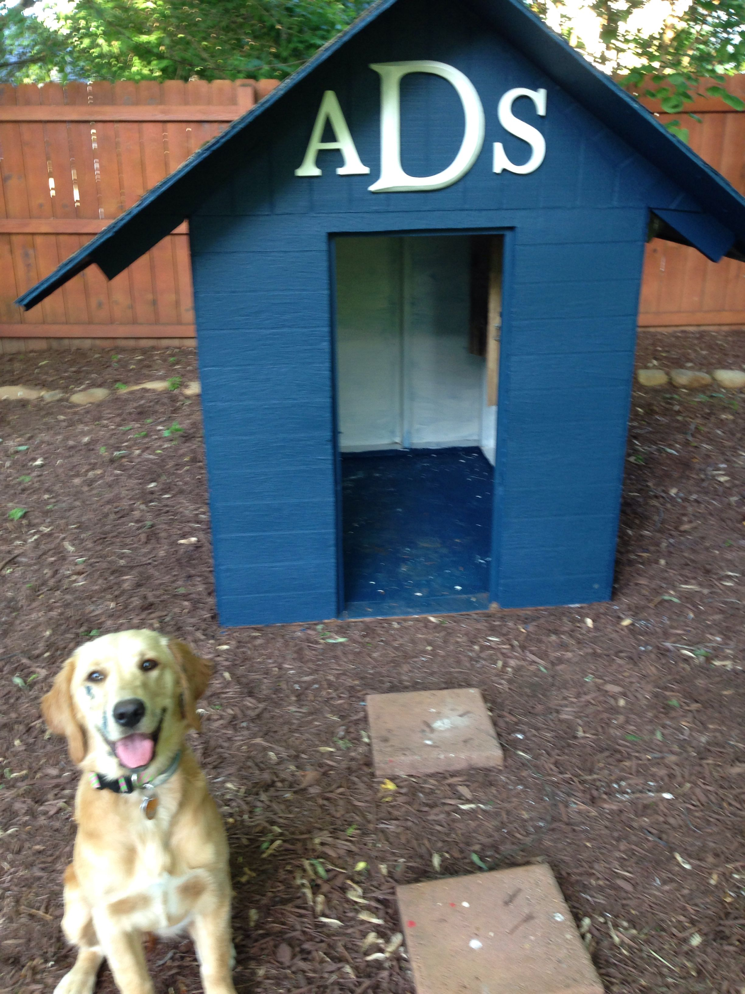 Playhouse Turned Doghouse Complete With Monogram For Female Dogs