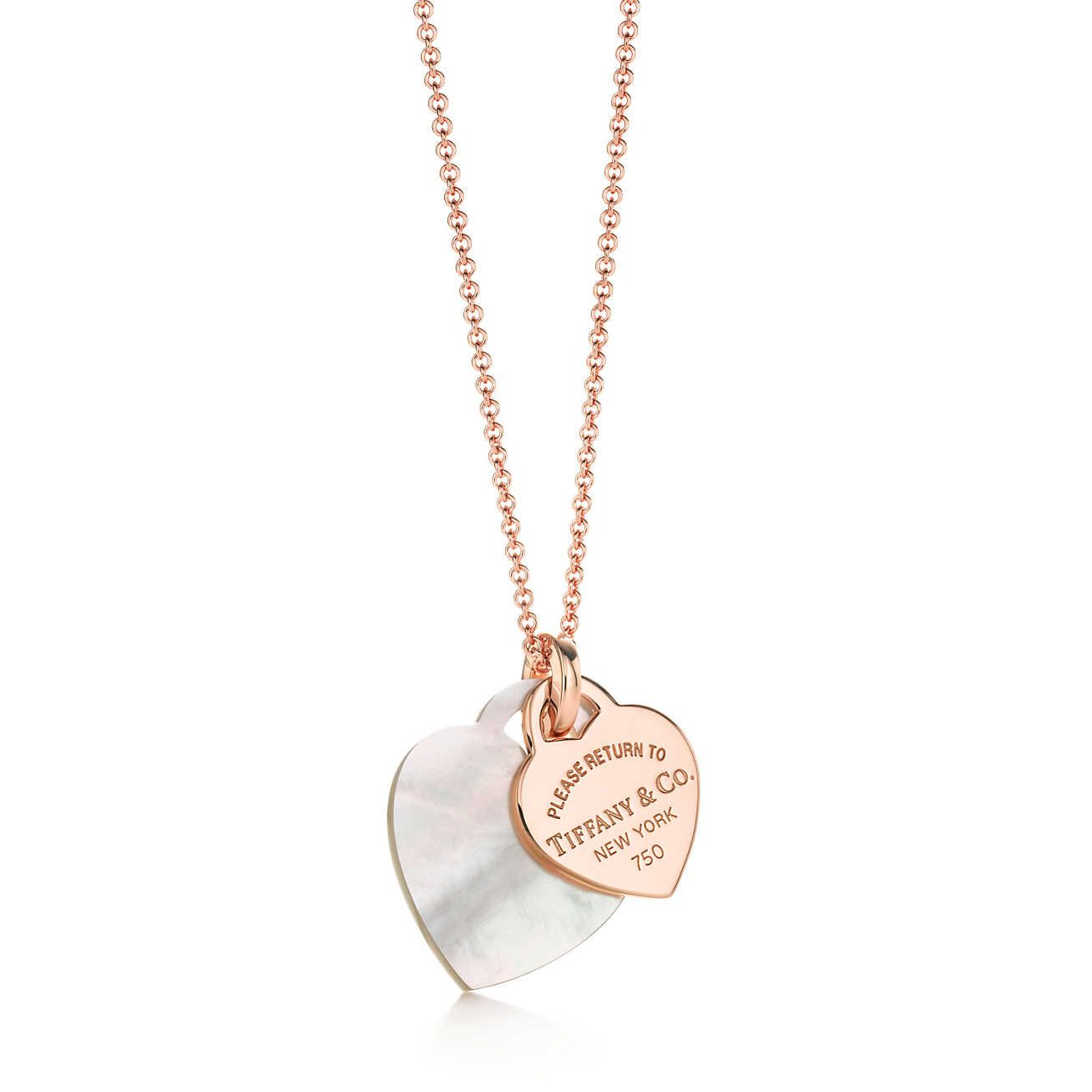 Return To Tiffany Double Heart Tag Pendant Tiffany Pearls Diamond Drop Necklace Necklace
