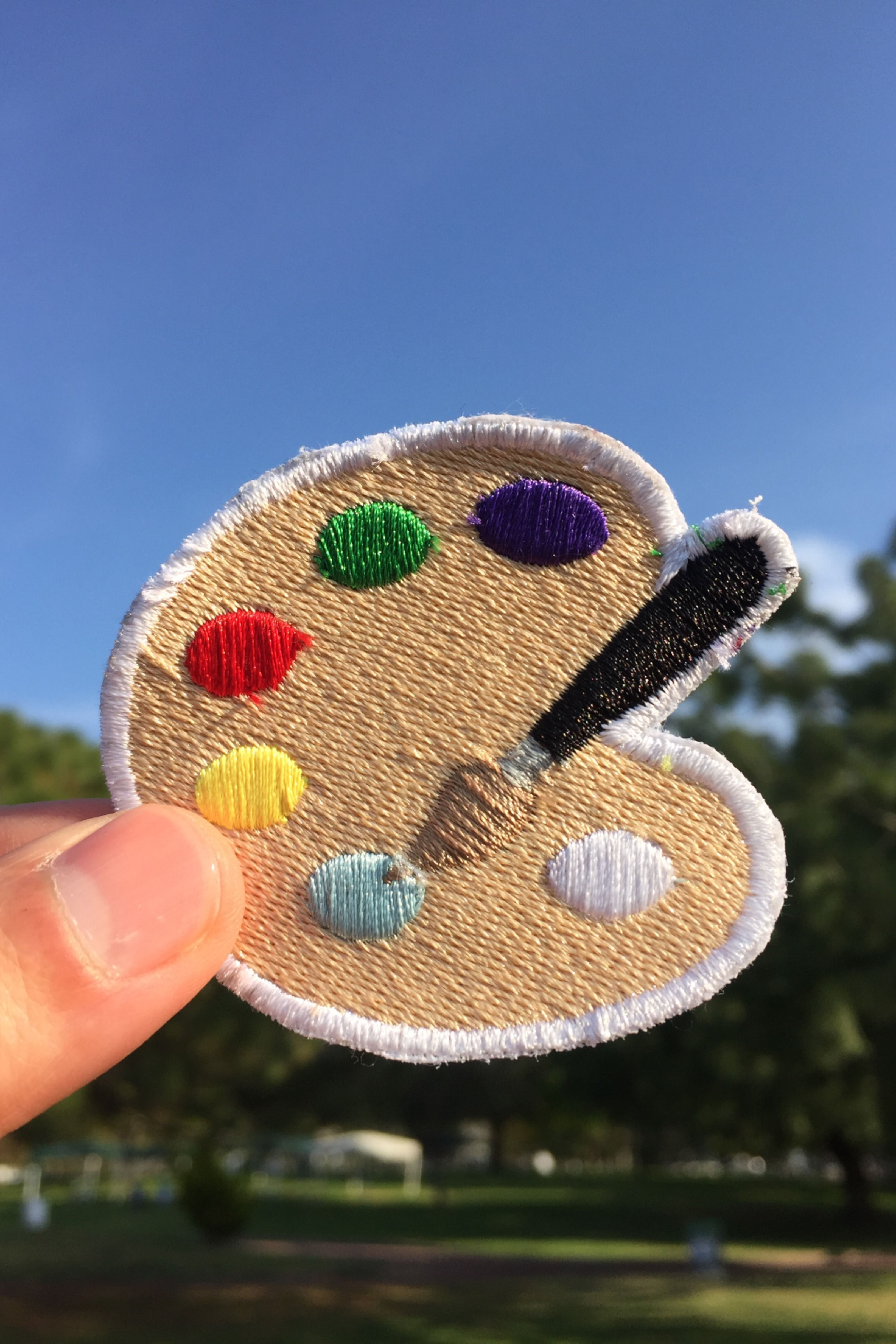 Artist palette emoji Patch, Embroidery applique, sew on