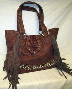ef8bf273104e Western Purse Handbag Montana West Trinity Ranch Leather Fringe Trim 8014  Brown