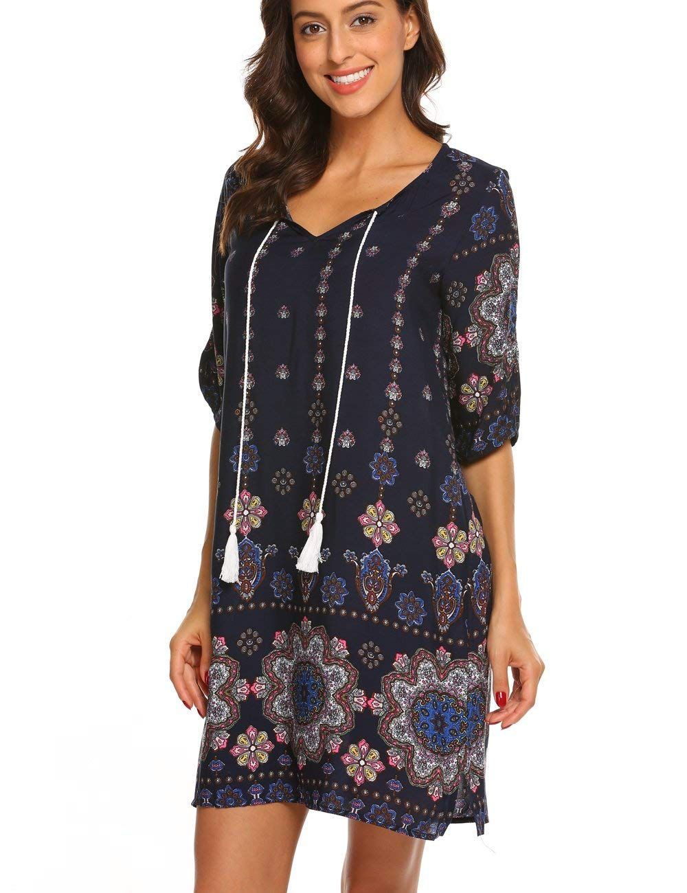 9d1127c4b47a Halife Women's Bohemian Vintage Printed Ethnic Split Casual Tunic Dress  Black, S at Amazon Women's Clothing store: