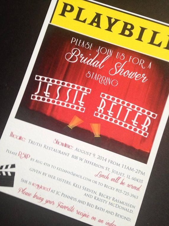 Broadway Playbill Invitations- Broadway Show, Theater, NYC Theme - invitation letter for home party