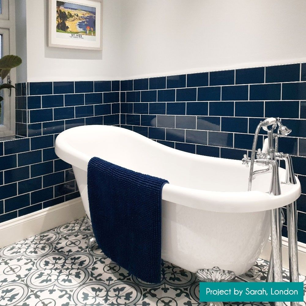 Gloss 200x100 Manor House Blue Smooth Metro Tiles In 2020
