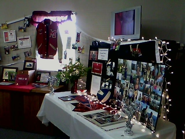 Graduation display with Letterman jacket for sports display - college acceptance letters