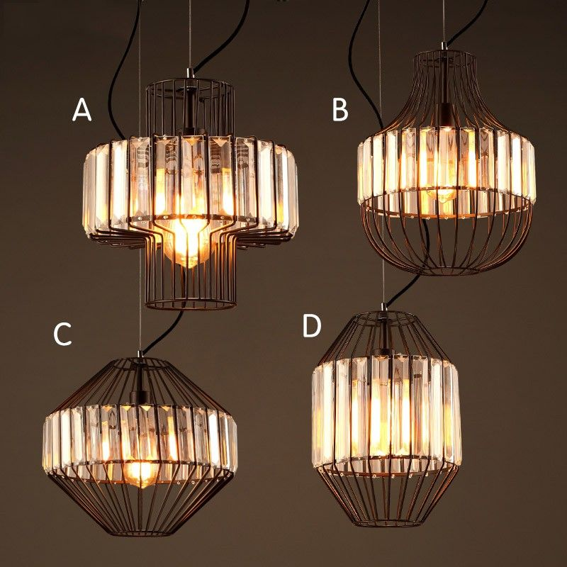 Industrial Black Metal Crystal Prism Wire Cage 1 Light Hanging Pendant Light Fixture P Ceiling Lights Pendant Light Fixtures Hanging Pendant Light Fixtures
