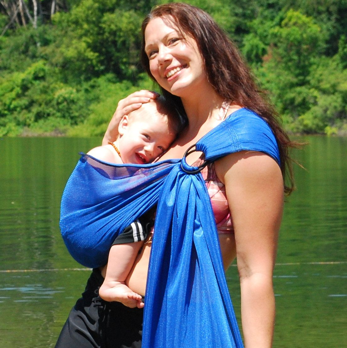 Extra Short Only Baby Carrier Ring Sling Water Mesh Sapphire Blue