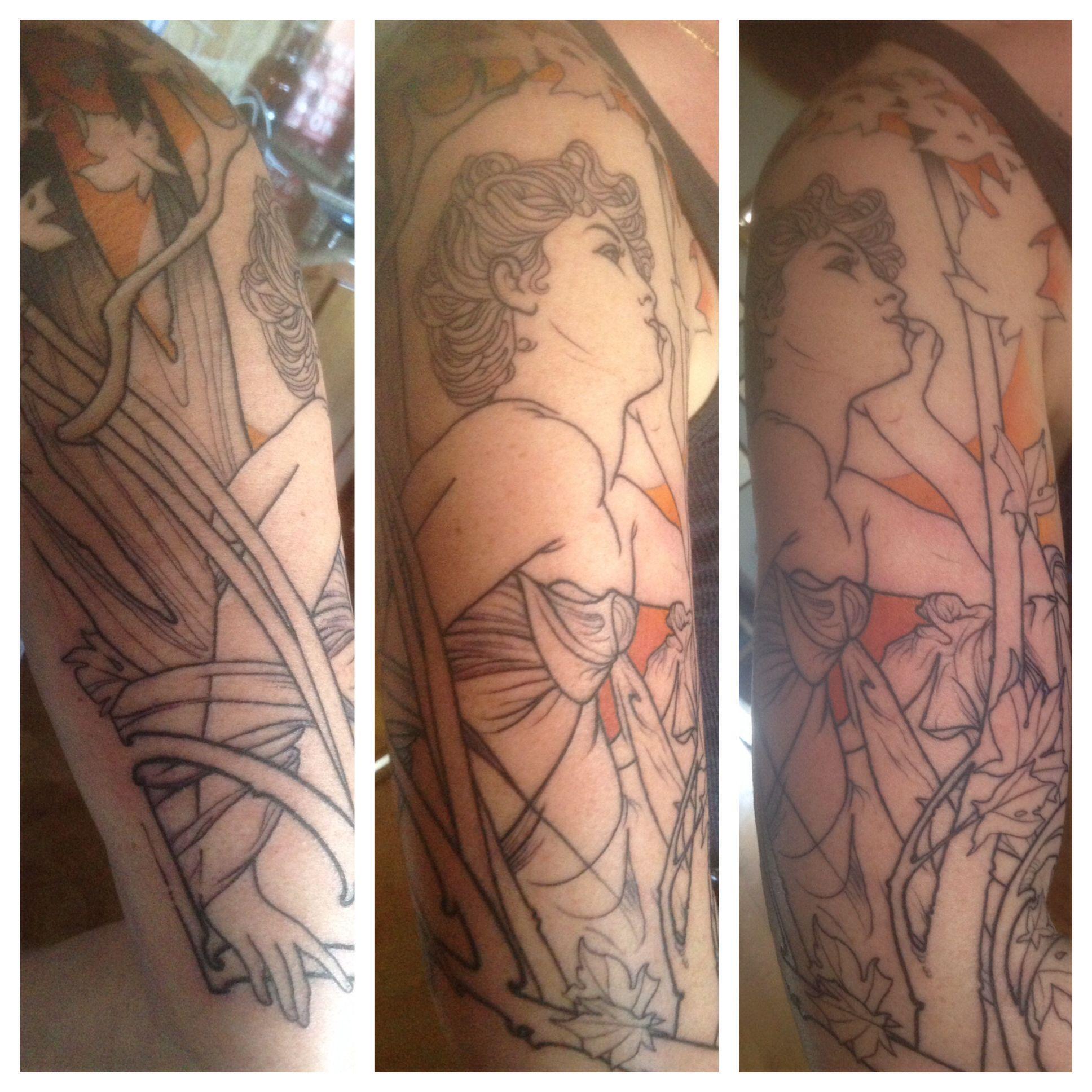 Alfonse Mucha inspired art nouveau tattoo. Tribal Rites Tattoo, Fort ...