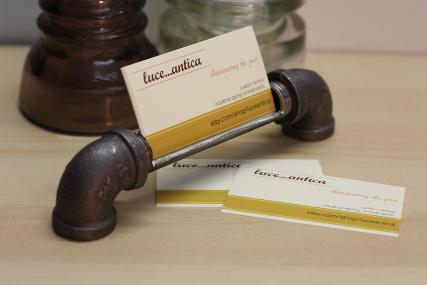 Industrial Design Business Card Holder Made From Iron Pipe. $17.99 ...