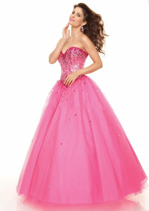 princess dresses | Latest Style Sequins Trimmed Princess Prom ...