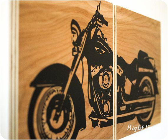 Motorcycle Wall Art Harley Davidson On Woodgrain By