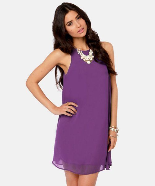 ec394a4d381 Gorgeous bright purple summer dress 2014 with flowy chiffon overlay.  Versatile frock