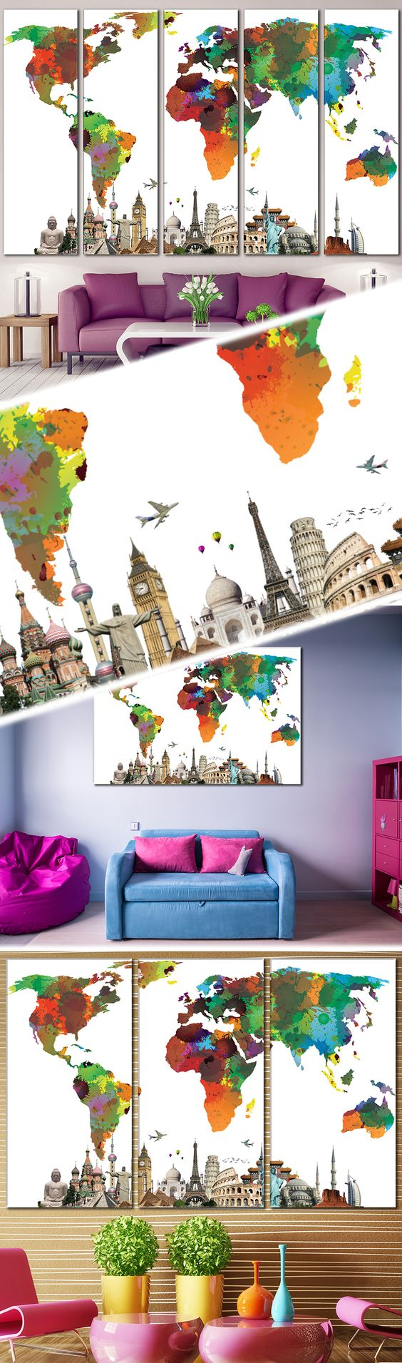 World map 854 office walls wall decorations and decoration creative world map canvas prints wall art for large home or office wall decoration sale gumiabroncs Gallery