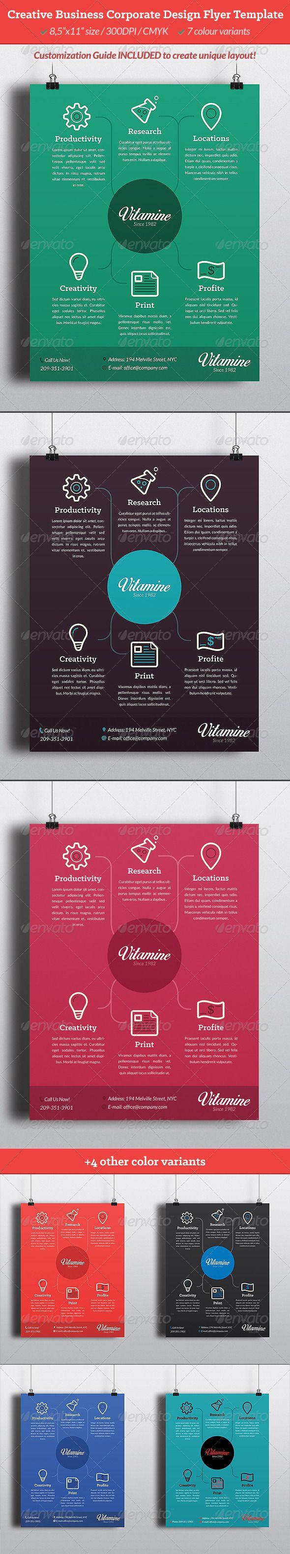 Creative Business Corporate Design Flyer Template | Kreativ, Flyer ...
