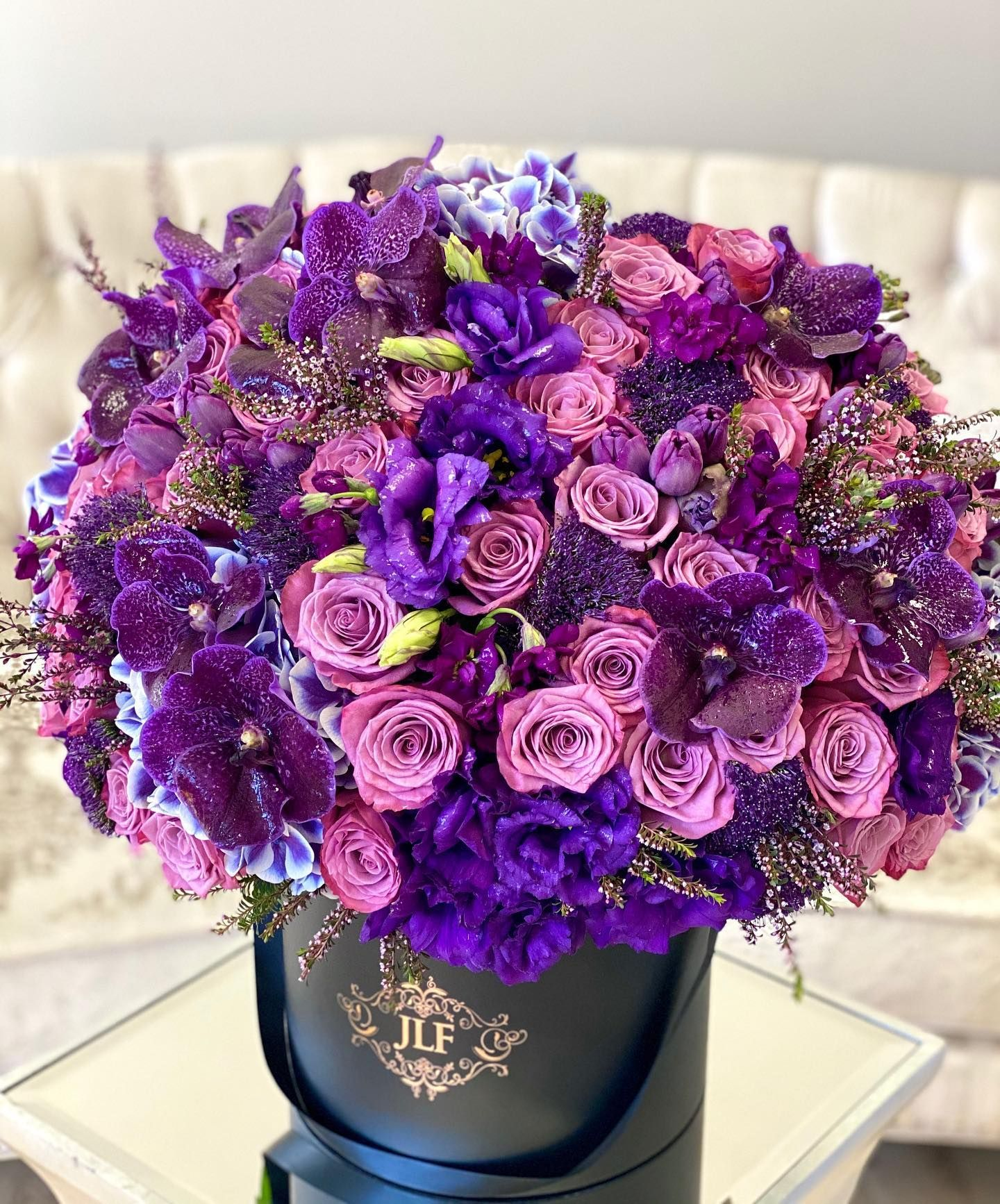 Pretty sweet and unique the Purple Cali arrangement is
