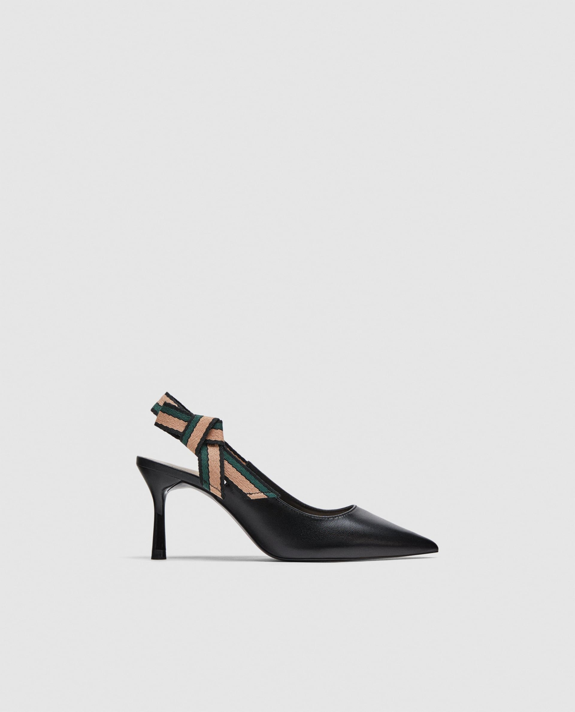Leather Slingback Shoes With Ribbon Detail From Zara Slingback Shoes Women Shoes Slingback