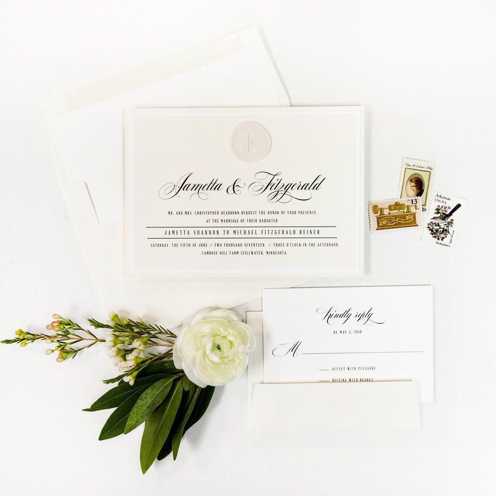 White on White Wax Seal Wedding Invitation Suite via www ...