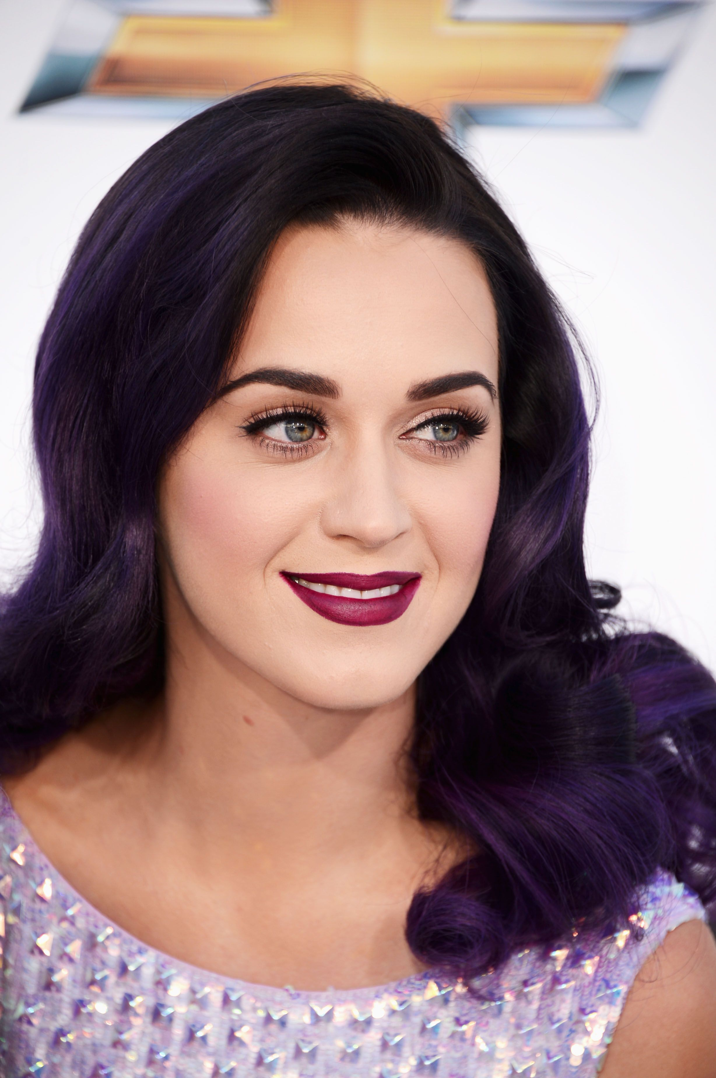 Deep purple Katy perry hair, Long hair with bangs, Katy