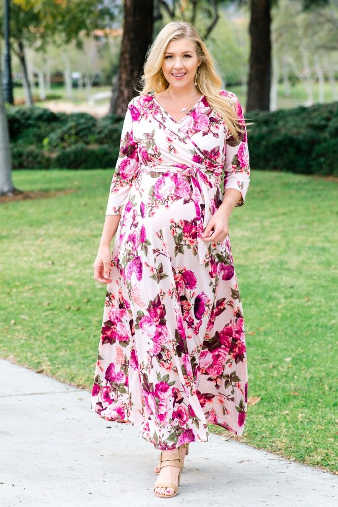 fe7f7cf60b8 Light Pink Floral Draped Plus Maternity Nursing Maxi Dress in 2019 ...